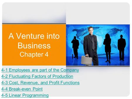 A Venture into Business Chapter 4 4-1 Employees are part of the Company 4-2 Fluctuating Factors of Production 4-3 Cost, Revenue, and Profit Functions 4-4.