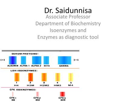 Dr. Saidunnisa Associate Professor Department of Biochemistry Isoenzymes and Enzymes as diagnostic tool.