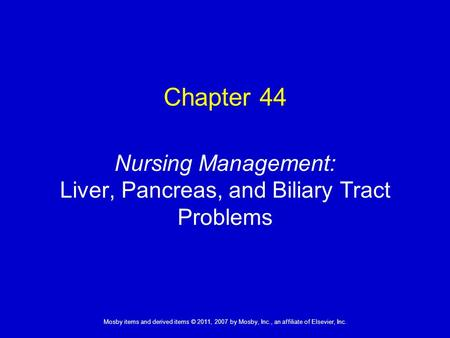 Nursing Management: Liver, Pancreas, and Biliary Tract Problems