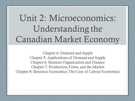 Unit 2: Microeconomics: Understanding the Canadian Market Economy Chapter 4: Demand and Supply Chapter 5: Applications of Demand and Supply Chapter 6:
