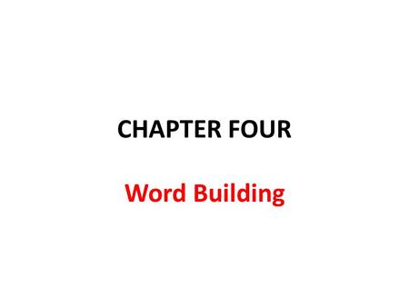 CHAPTER FOUR Word Building. Morphemes Words are not the smallest units of a language, they may consist of smaller parts that have a meaning of their own.
