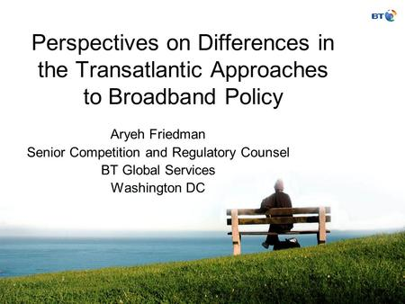 BT Partners Perspectives on Differences in the Transatlantic Approaches to Broadband Policy Aryeh Friedman Senior Competition and Regulatory Counsel BT.
