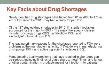 Key Facts about Drug Shortages Newly identified drug shortages have tripled from 61 in 2005 to 178 in 2010. By December 2011 they had already topped 200.