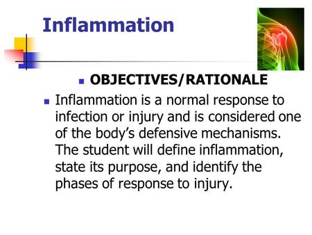 Inflammation OBJECTIVES/RATIONALE Inflammation is a normal response to infection or injury and is considered one of the body's defensive mechanisms. The.