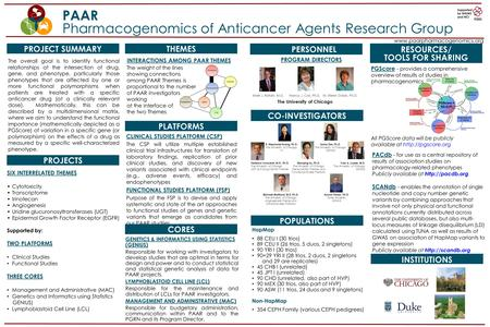 PAAR Pharmacogenomics of Anticancer Agents Research Group www.paarpharmacogenomics.org PROJECT SUMMARY The overall goal is to identify functional relationships.