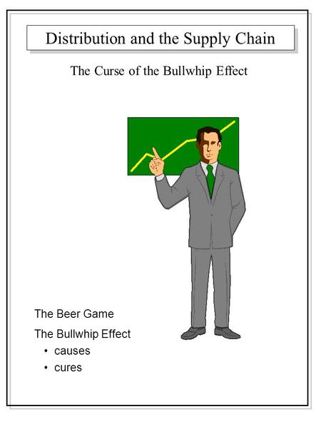 Distribution and the Supply Chain The Beer Game The Bullwhip Effect causes cures The Curse of the Bullwhip Effect.