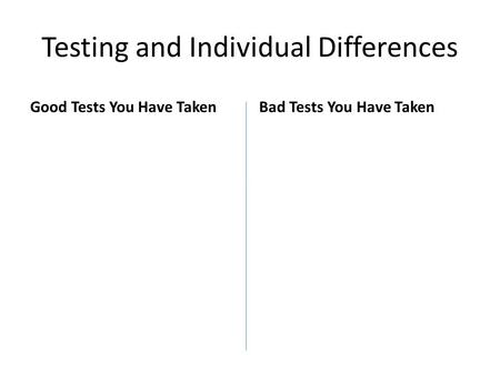 Testing and Individual Differences Good Tests You Have TakenBad Tests You Have Taken.