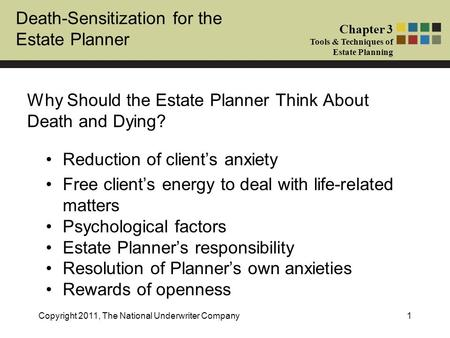 Death-Sensitization for the Estate Planner Chapter 3 Tools & Techniques of Estate Planning Copyright 2011, The National Underwriter Company1 Why Should.