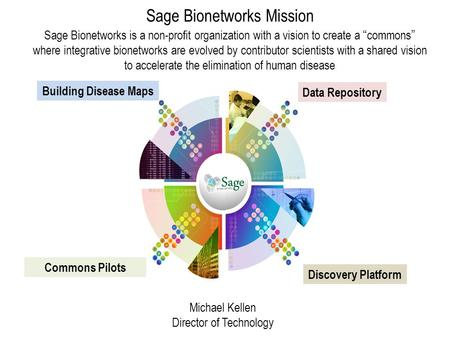 "Sage Bionetworks Mission Sage Bionetworks is a non-profit organization with a vision to create a ""commons"" where integrative bionetworks are evolved by."