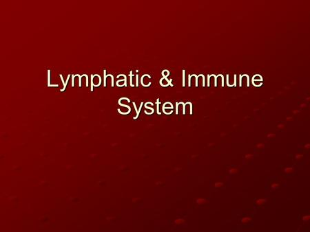 Lymphatic & Immune System. Lymph: Definition (1) Lymph is excess tissue fluid contained in lymphatic vessels Consists of (mostly) water and plasma proteins.