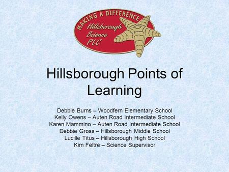 Hillsborough Points of Learning Debbie Burns – Woodfern Elementary School Kelly Owens – Auten Road Intermediate School Karen Mammino – Auten Road Intermediate.