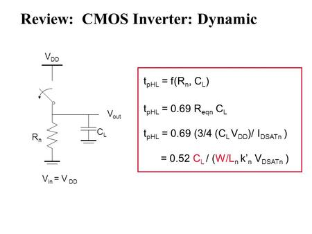 Review: CMOS Inverter: Dynamic