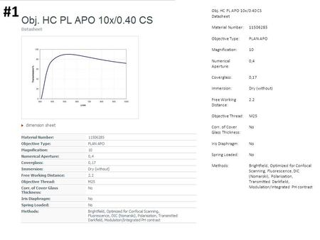 Obj. HC PL APO 10x/0.40 CS Datasheet Material Number:11506285 Objective Type:PLAN APO Magnification:10 Numerical Aperture: 0,4 Coverglass:0,17 Immersion:Dry.