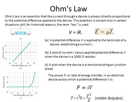 Ohm's Law Ohm's law is an assertion that the current through a device is always directly proportional to the potential difference applied to the device.