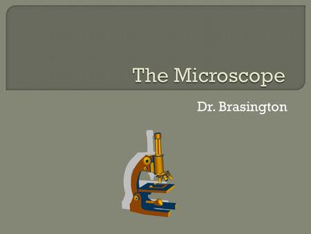 Dr. Brasington. 2  Base: The supportive bottom piece of the microscope.  Sub stage light: It's a light, it removes the dark. It is operated by a switch.