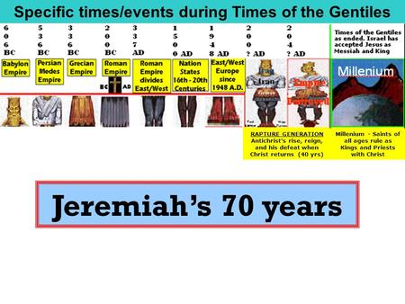 Jeremiah's 70 years RAPTURE GENERATION Antichrist's rise, reign, and his defeat when Christ returns (40 yrs) Millenium - Saints of all ages rule as Kings.