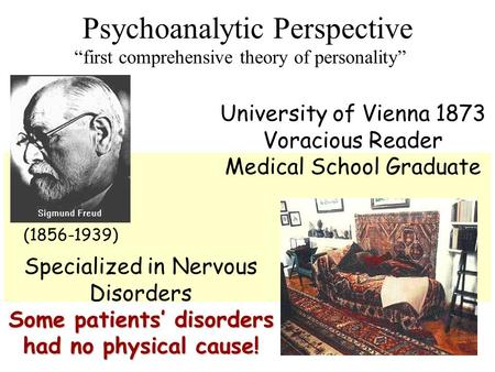 "Psychoanalytic Perspective ""first comprehensive theory of personality"" (1856-1939) University of Vienna 1873 Voracious Reader Medical School Graduate."