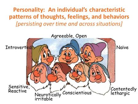 Personality: An individual's characteristic patterns of thoughts, feelings, and behaviors [persisting over time and across situations] Sensitive, Reactive.