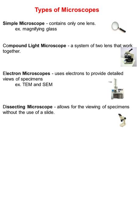 Types of Microscopes Simple Microscope - contains only one lens. ex. magnifying glass Compound Light Microscope - a system of two lens that work together.