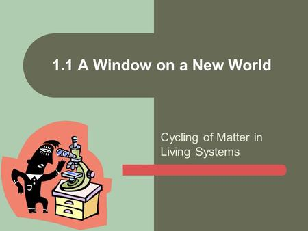 Cycling of Matter in Living Systems 1.1 A Window on a New World.