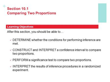 + Section 10.1 Comparing Two Proportions After this section, you should be able to… DETERMINE whether the conditions for performing inference are met.