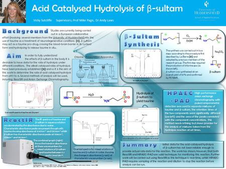 Acid Catalysed Hydrolysis of β -sultam Vicky Sutcliffe Supervisors; Prof Mike Page, Dr Andy Laws Studies are currently being carried out in a European.