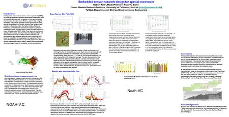 Embedded sensor network design for spatial snowcover Robert Rice 1, Noah Molotch 2, Roger C. Bales 1 1 Sierra Nevada Research Institute, University of.