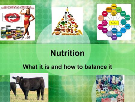 Nutrition What it is and how to balance it. 6 components to nutrition Water Carbs Protein Fats Vitamins Minerals.