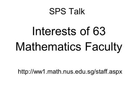SPS Talk Interests of 63 Mathematics Faculty