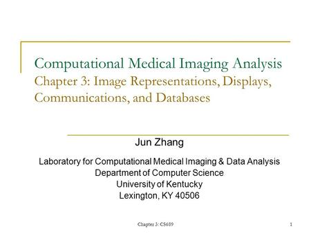 Chapter 3: CS689 1 Computational Medical Imaging Analysis Chapter 3: Image Representations, Displays, Communications, and Databases Jun Zhang Laboratory.
