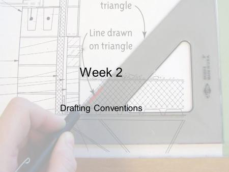 Week 2 Drafting Conventions. Objective This chapter discusses line types, symbols, letters, and notes found on architectural drawings.