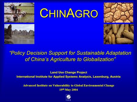 """Policy Decision Support for Sustainable Adaptation of China's Agriculture to Globalization"" Land Use Change Project International Institute for Applied."