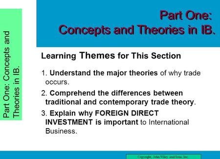 Chapter One Copyright, John Wiley and Sons, Inc. Part One: Concepts and Theories in IB. three Learning Themes for This Section reading this chapter, you.