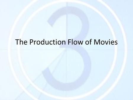 The Production Flow of Movies. The Idea Where / Who does it come from? 1)Original Idea 2)Adapted Idea.
