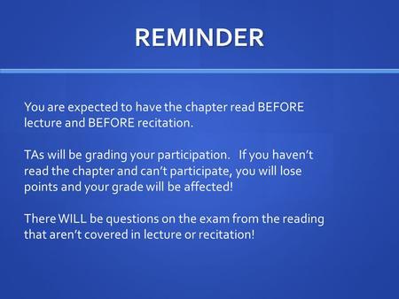 REMINDER You are expected to have the chapter read BEFORE lecture and BEFORE recitation. TAs will be grading your participation. If you haven't read the.