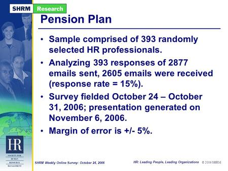 HR: Leading People, Leading Organizations © 2006 SHRM SHRM Weekly Online Survey: October 24, 2006 Pension Plan Sample comprised of 393 randomly selected.
