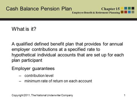 Chapter 15 Employee Benefit & Retirement Planning Cash Balance Pension Plan Copyright 2011, The National Underwriter Company1 What is it? A qualified defined.