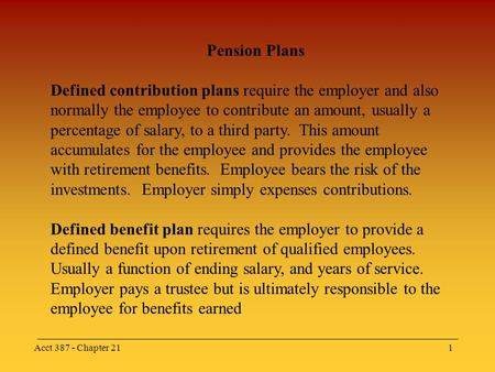 Acct 387 - Chapter 211 Pension Plans Defined contribution plans require the employer and also normally the employee to contribute an amount, usually a.