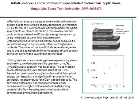 InGaN solar cells show promise for concentrated photovoltaic applications Jingyu Lin, Texas Tech University, DMR 0906879 InGaN alloys recently emerge as.