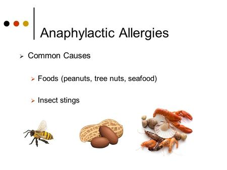 Anaphylactic Allergies  Common Causes  Foods (peanuts, tree nuts, seafood)  Insect stings.