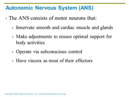 Copyright © 2006 Pearson Education, Inc., publishing as Benjamin Cummings Autonomic Nervous System (ANS)  The ANS consists of motor neurons that:  Innervate.