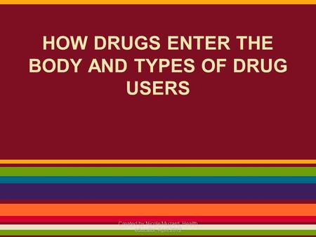 HOW DRUGS ENTER THE BODY AND TYPES OF DRUG USERS Created by Nicole Muzard, Health educator, April 2012.