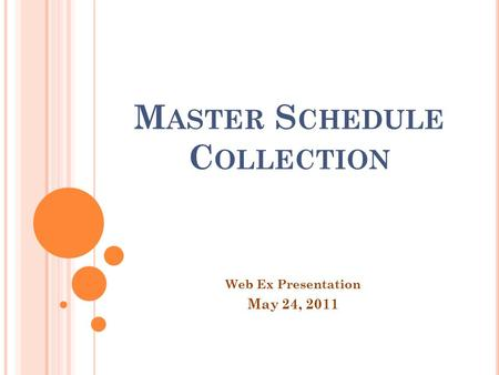 M ASTER S CHEDULE C OLLECTION Web Ex Presentation May 24, 2011.