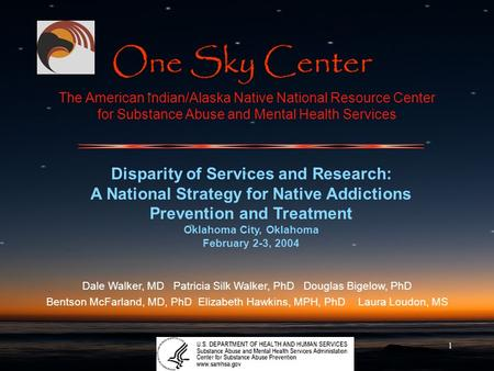 1 The American Indian/Alaska Native National Resource Center for Substance Abuse and Mental Health Services Disparity of Services and Research: A National.