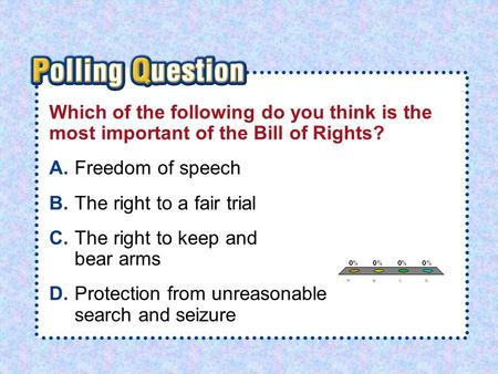 A.A B.B C.C D.D Section 1-Polling QuestionSection 1-Polling Question Which of the following do you think is the most important of the Bill of Rights? A.Freedom.