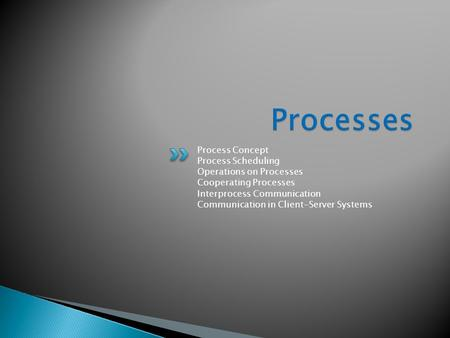 Process Concept Process Scheduling Operations on Processes Cooperating Processes Interprocess Communication Communication in Client-Server Systems.
