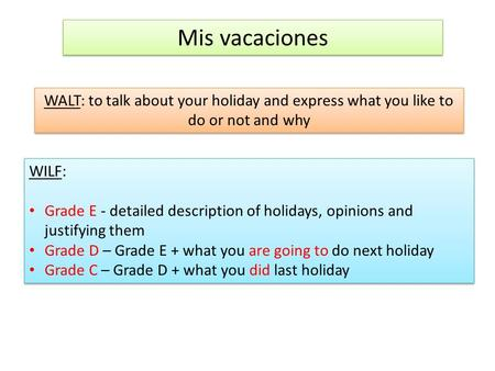 Mis vacaciones WALT: to talk about your holiday and express what you like to do or not and why WILF: Grade E - detailed description of holidays, opinions.