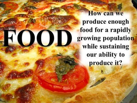 FOOD. Population vs. Food Availability 1 out of every 6 people in developing countries is chronically undernourished or malnourished. To feed the world's.