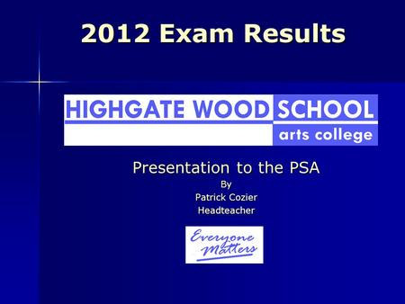 2012 Exam Results Presentation to the PSA By Patrick Cozier Headteacher.