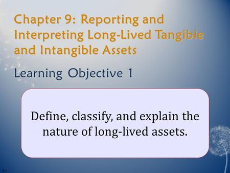 Chapter 9: Reporting and Interpreting Long-Lived Tangible and Intangible Assets Learning Objective 1 Define, classify, and explain the nature of long-lived.
